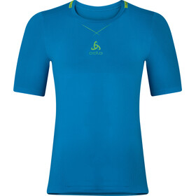 Odlo M's Ceramicool Seamless Shirt S/S Crew Neck blue jewel-safety yellow